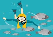 Ragazza con nuoto navigante usando una presa d'aria della mascherina sotto l'acqua Immagini Stock