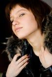 Ragazza con pelliccia Fotografie Stock