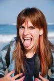 Ragazza con piercing della linguetta Immagine Stock Libera da Diritti