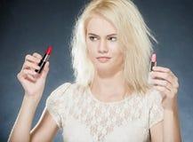 Ragazza con rossetto Fotografia Stock Libera da Diritti