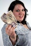 Ragazza con soldi Fotografie Stock Libere da Diritti