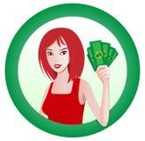 Ragazza con soldi royalty illustrazione gratis