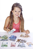 Ragazza con soldi Fotografia Stock Libera da Diritti