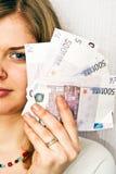 Ragazza con soldi Fotografia Stock