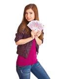 Ragazza con soldi in mani Fotografie Stock Libere da Diritti