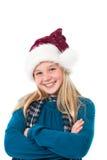 Ragazza con sorridere del cappello della Santa Immagine Stock Libera da Diritti