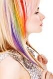 Ragazza con taglio di capelli del Rainbow Fotografia Stock Libera da Diritti