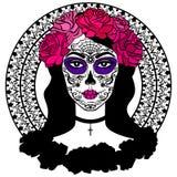 Ragazza con trucco del cranio dello zucchero Giorno messicano dei morti Immagine Stock