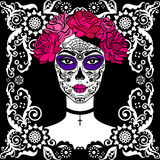 Ragazza con trucco del cranio dello zucchero Giorno messicano dei morti Fotografia Stock