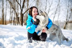 Ragazza con un cane nel husky di inverno immagine stock libera da diritti