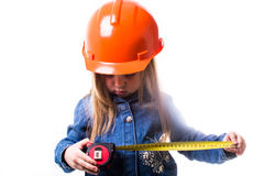 Ragazza con un casco della costruzione Immagine Stock Libera da Diritti