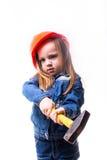 Ragazza con un casco della costruzione Fotografie Stock