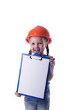 Ragazza con un casco della costruzione Immagini Stock