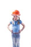 Ragazza con un casco della costruzione Fotografia Stock Libera da Diritti