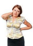 Ragazza con un collo ammalato Fotografie Stock
