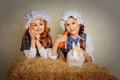 Ragazza con un coniglio sul fieno e su una carota Immagine Stock Libera da Diritti