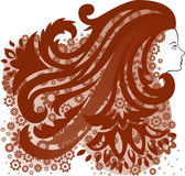 Ragazza con un fiore dei capelli Fotografie Stock