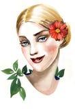 Ragazza con un fiore in suoi capelli Immagini Stock Libere da Diritti