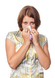 Ragazza con un freddo e un'allergia Immagine Stock