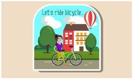 Ragazza con un'illustrazione della bicicletta royalty illustrazione gratis