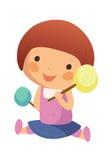 Ragazza con un lollypop illustrazione vettoriale