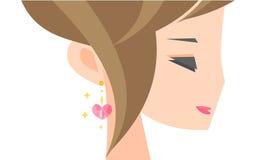 Ragazza con un orecchino illustrazione vettoriale