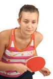Ragazza con un ping-pong della racchetta Fotografia Stock
