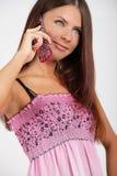 Ragazza con un telefono Fotografie Stock