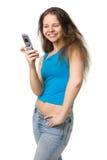 Ragazza con un telefono mobile Immagine Stock Libera da Diritti
