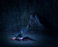 Ragazza con una bacchetta magica nel combattimento della foresta con il demone immagini stock