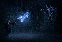 Ragazza con una bacchetta magica nel combattimento della foresta con il demone Immagini Stock Libere da Diritti