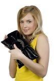 Ragazza con una borsa Fotografie Stock