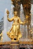 Ragazza con una fontana di amicizia Fotografia Stock