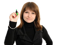 Ragazza con una penna Fotografia Stock