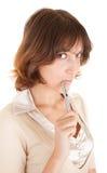 Ragazza con una penna a disposizione Fotografie Stock Libere da Diritti