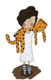 Ragazza con una tigre royalty illustrazione gratis