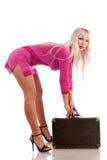 Ragazza con una valigia Fotografia Stock Libera da Diritti