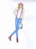 Ragazza con uno zaino Illustrazione Fotografia Stock