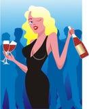Ragazza con vino Fotografie Stock