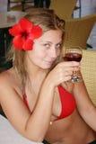Ragazza con vino Fotografia Stock Libera da Diritti