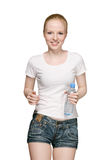 Ragazza corrente con la bottiglia di acqua Fotografia Stock Libera da Diritti