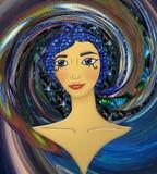 Ragazza cosmica egiziana Web-icona royalty illustrazione gratis
