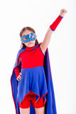 Ragazza in costume del supereroe Fotografia Stock