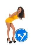 Ragazza d'auto-stop sexy Immagine Stock Libera da Diritti