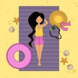 Ragazza dai capelli lunghi sulla spiaggia illustrazione vettoriale