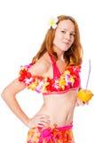 Ragazza dai capelli rossi nel hawaiano floreale Lei su bianco Fotografie Stock Libere da Diritti