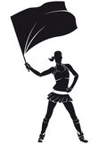 Ragazza dal gruppo di appoggio, ragazza pon pon con la bandiera Fotografia Stock Libera da Diritti