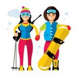 Ragazza degli sport invernali di vettore Biathlon e snowboard Illustrazione variopinta del fumetto di stile piano Immagini Stock