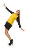 Ragazza dei capelli biondi in abbigliamento giallo e nero Immagini Stock Libere da Diritti