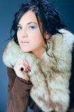 Ragazza dei capelli scuri, donna, modello in pelliccia Immagine Stock Libera da Diritti